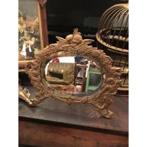 Antique National Brass & Iron Works Beveled Mirror with Cherubs – Golden Bow Designs