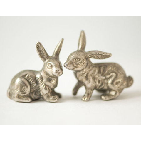 Vintage bunnies Easter bunny small metal figurines by SovietEra